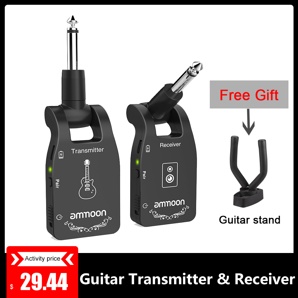 Ammon Wireless 2.4G Guitar Transmitter & Receiver System USB Chargine 6-Channel Audio For Electric Guitar Bass Guitar Accessory