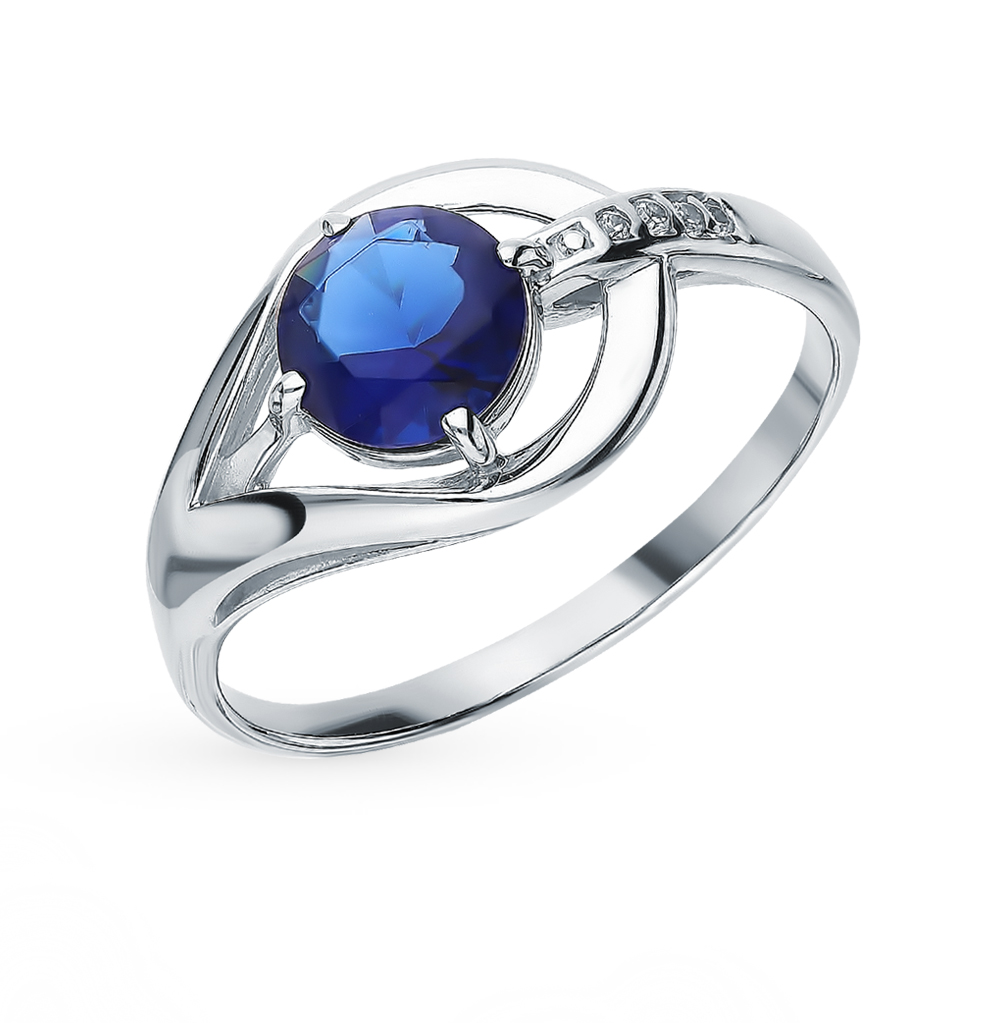 Silver Ring With Sapphire & Cubic Zirconia SUNLIGHT Test 925