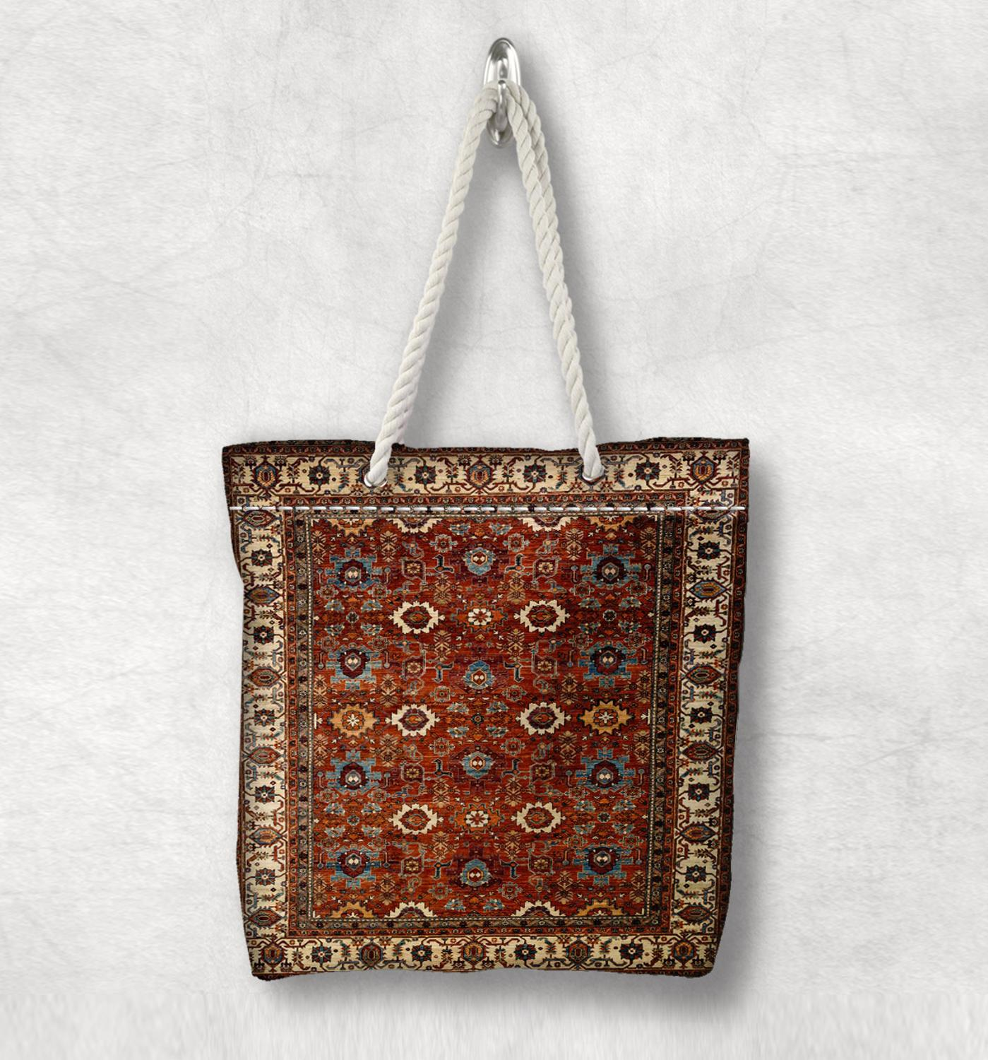 Else Brown Ottoman Anatolia Antique Kilim Design White Rope Handle Canvas Bag Cotton Canvas Zippered Tote Bag Shoulder Bag