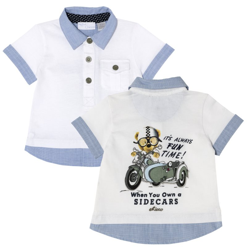Polo Chicco, size 074, print motorcycle rider (white and blue) свитшот print bar free rider