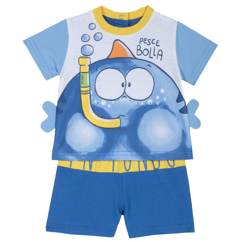 Фото - Set T shirt and shorts Chicco, size 080, print fish (blue) set t shirt and shorts chicco size 080 print pirates white and black