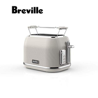 Breville Toaster Flow Two Slices Beige Cream Color VTT894X Easy Itar Extraction Pickup Tray Heating Mode Defrost Toast Baking