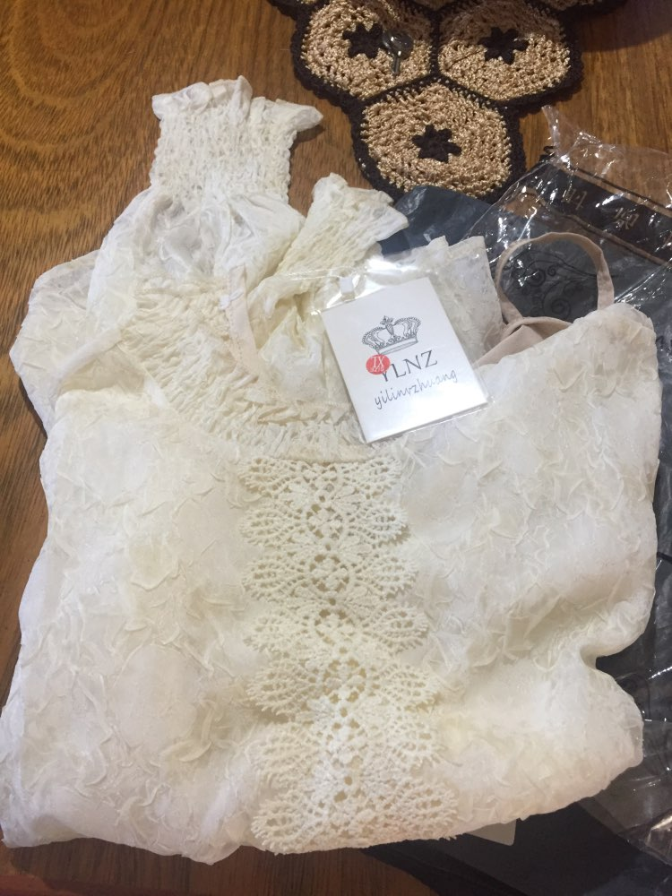Women Lace Tops Embossing Spliced Ear Chiffon Shirt High Necked Lantern Sleeve Casual Ruffles Lace Blouse photo review