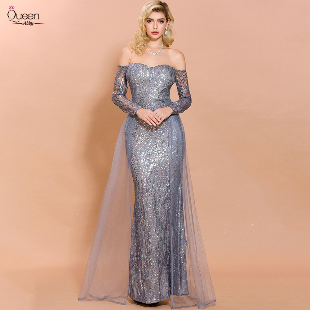 Queen Prom Dress Mermaid Sweetheart Long Sleeves Shinny Floor-Length Tulle Dress Formal Dress Party Gown