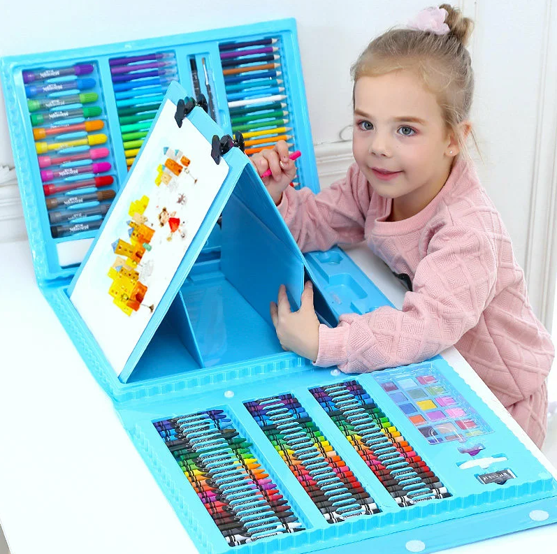 Children's Art Painting Set With Easel 208 Items Suitcase Creativity Crayons Markers Blue