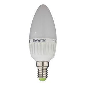 Лампа светодиодная Navigator 7 Вт E14 свеча С37 2700 К теплый свет 230 В матовая диммируемая