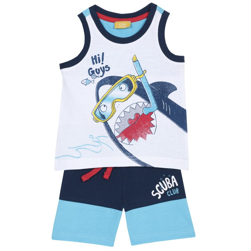 Фото - Set T shirt and shorts Chicco, size 086, color shark (blue) shoes velcro genuine leather chicco size 200 color blue and red