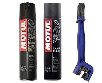 Motul - Kit de limpiador lubricante para cadena C4 400 ml + cepillo de limpieza para la cadena, Moto, motorista, motocicleta