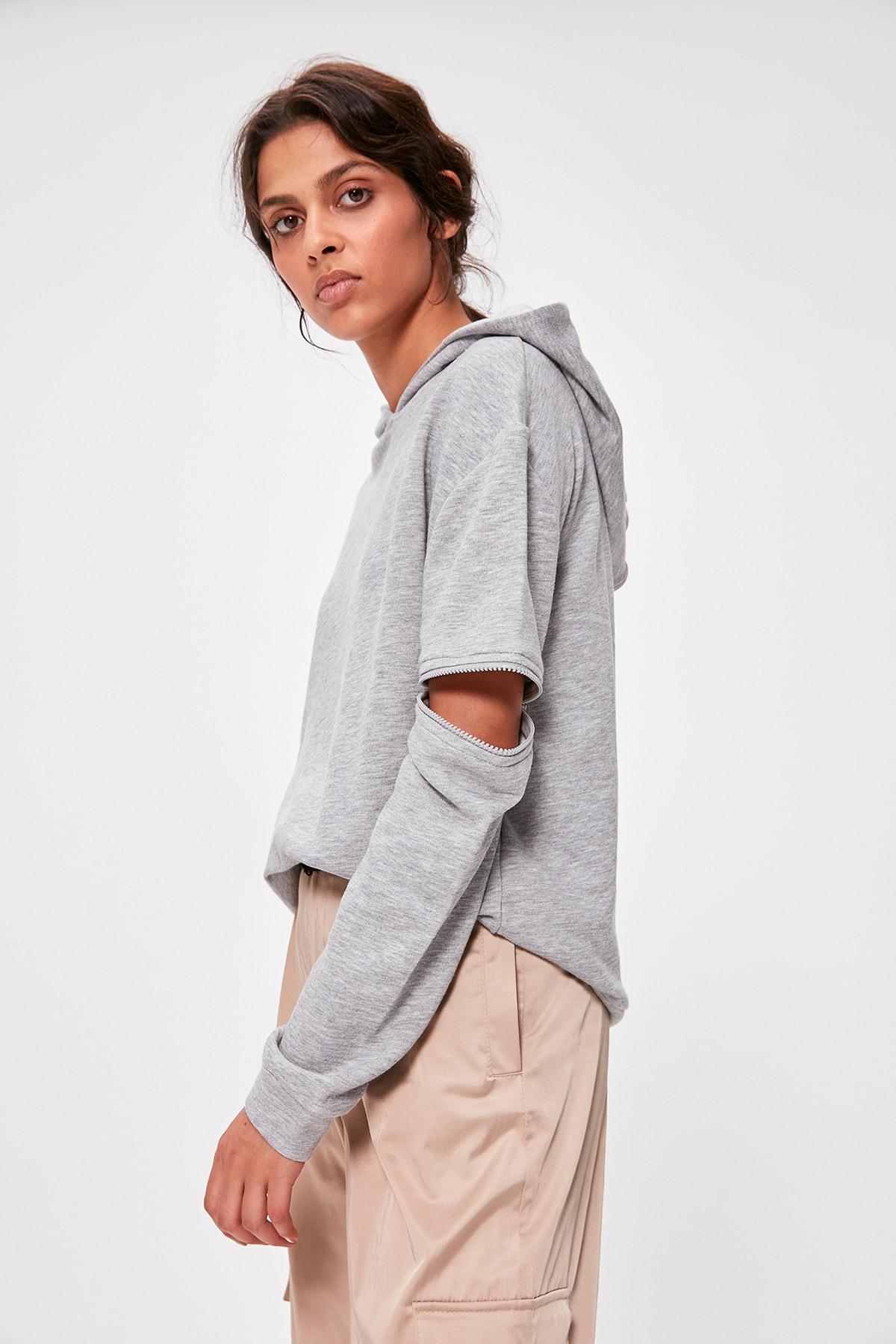Trendyol Gray Zipper Detail Hooded Knitted Sweatshirt TWOAW20SW0237