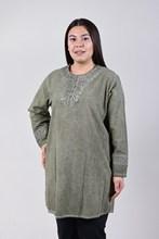 Women's Large Size Fronting Taşlamalı Khaki Blouse 4035