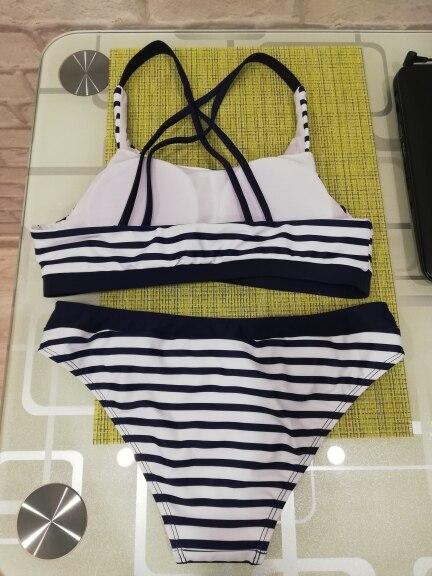 New Sexy Striped Beach Bikinis Set Women Swimwear Push Up Swimsuit Female Bathing Suits Bikini Girls Pool Swimming Suit 2021 Bikini Set    - AliExpress