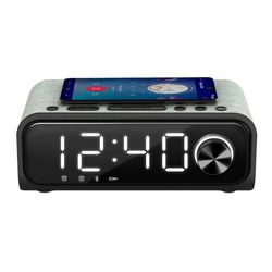Clock-Radio with Wireless Charger Energy Sistem Speaker 4 Bluetooth 5.0 10W Black Silver