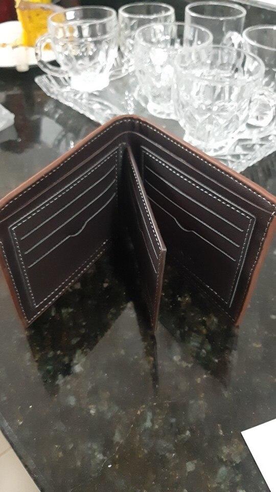2020 nova carteira casual para homens multi-slot para cartão curto moda carteira masculina juventude fina três-fold macio carteira horizontal moeda bolsa photo review
