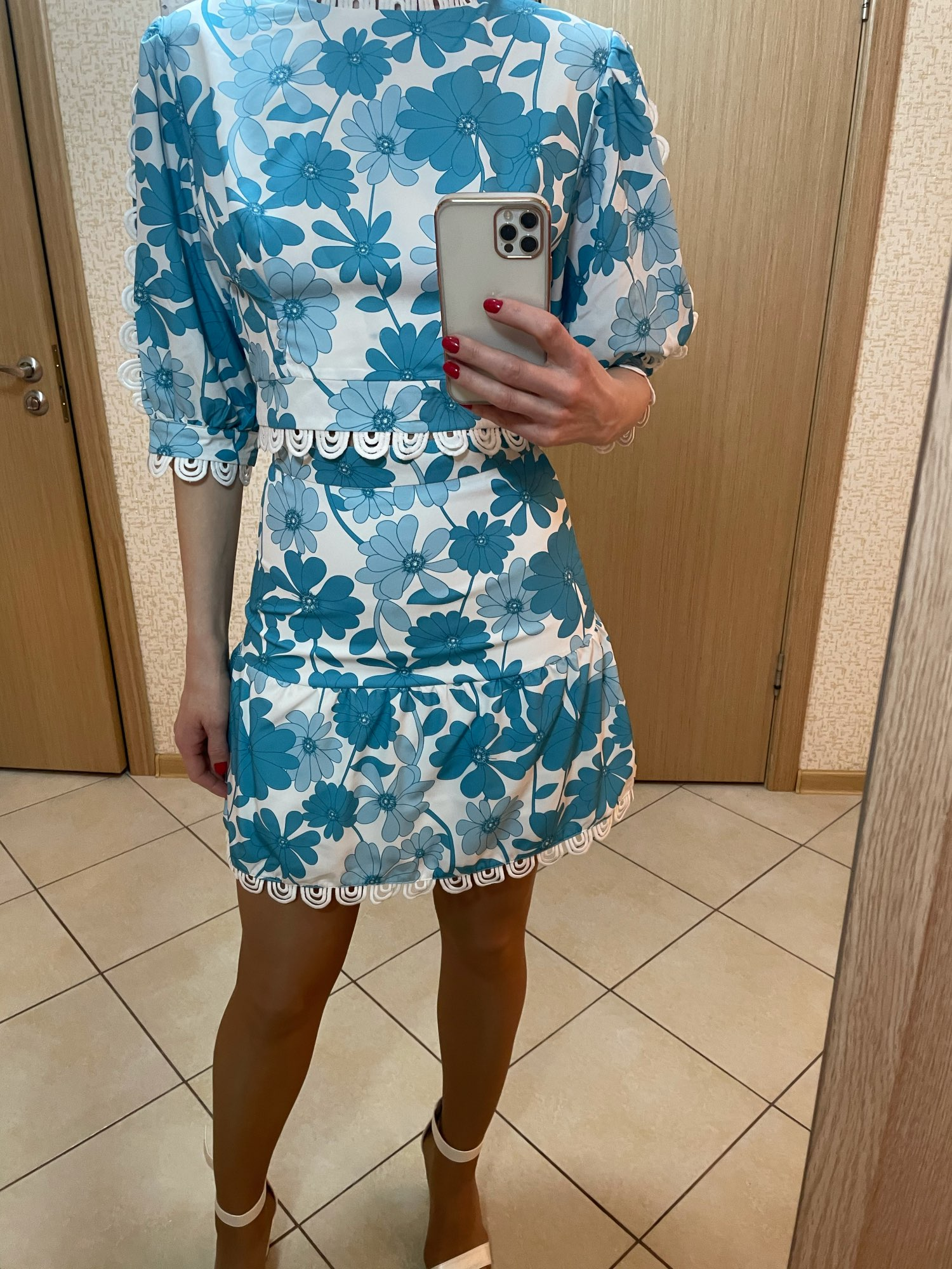 Spring Floral Top With  High Waist Skirt photo review