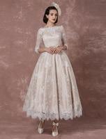 Lace Wedding Dress Vintage Bateau Champagne Half Sleeves Bridal Gown A line Backless Tea length Sash Reception Bridal Dress