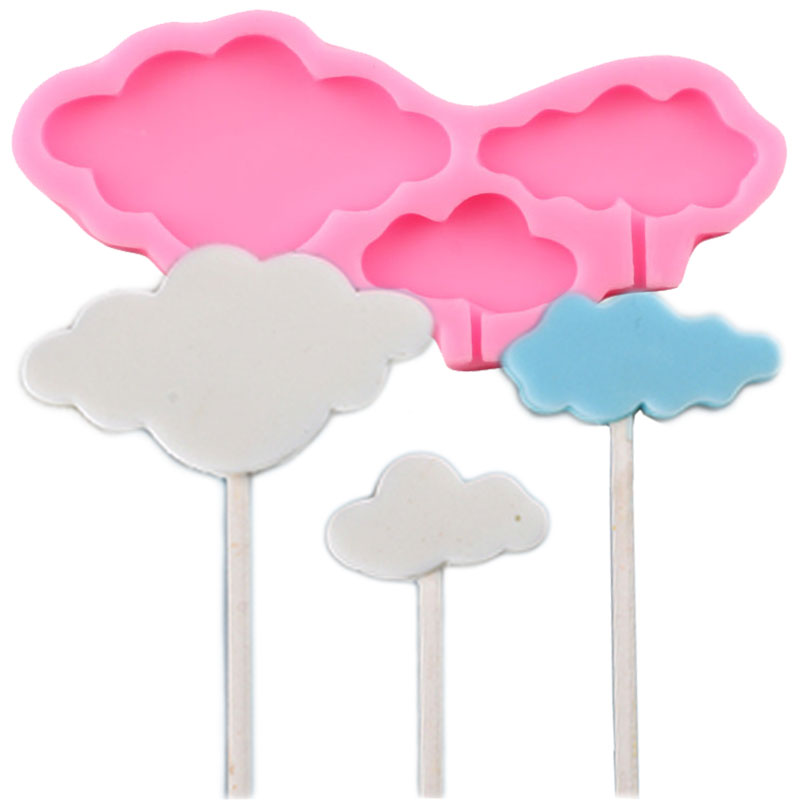 3D Cloud Lollipop Silicone Molds Cupcake Topper Fondant Mold Baby Birthday Cake Decorating Tools Candy Chocolate Gumpaste Moulds