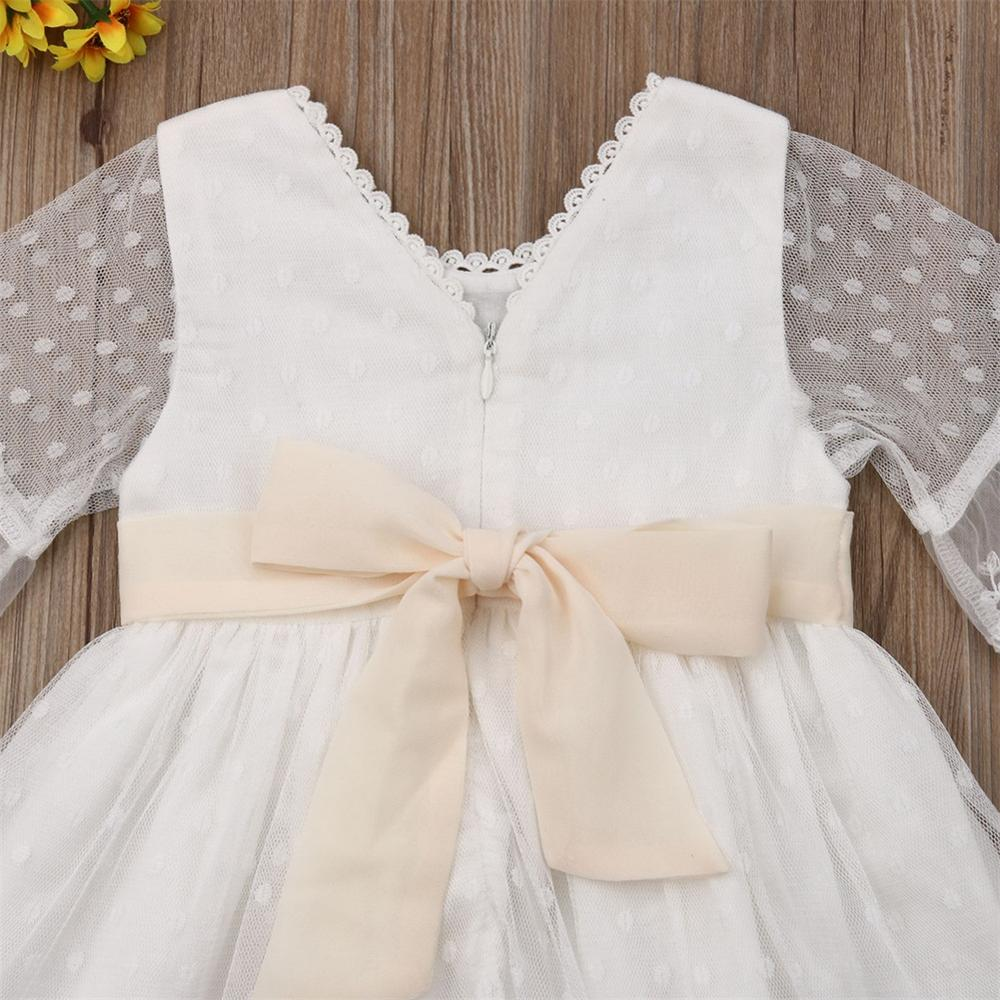 Spring Girls Bridesmaid White Dress Baby Toddler Kids Knee-Length Fashion Party Lace Long Sleeve Bow Wedding Princess Dresses 3