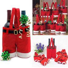 1 шт. Рождественский подарок, держатель для бутылки вина с конфетами, подтяжки с Санта-Клаусом, украшения для брюк, милые рождественские пода...