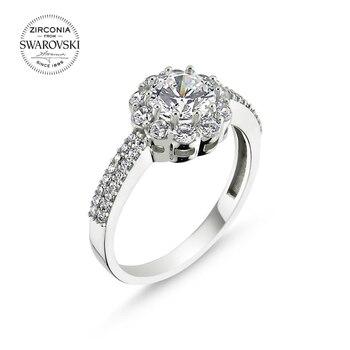 Silver 925 Sterling Swarovski Zirconia Cubic Zirconia Half Round Engagement Ring
