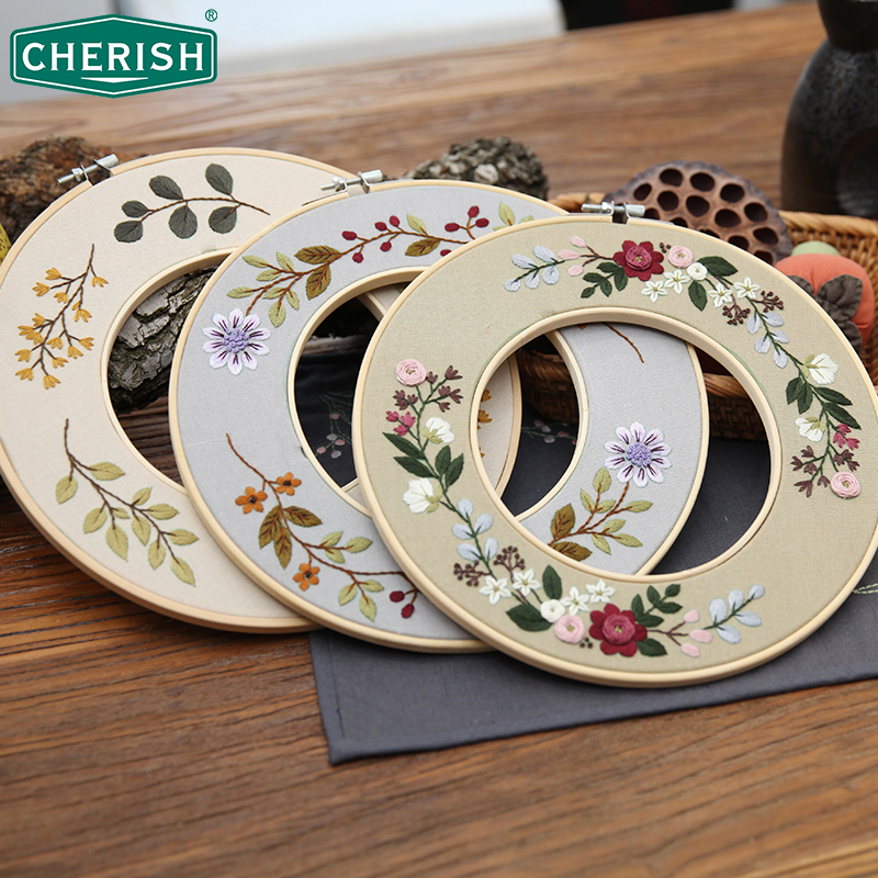 Flower Embroidery Kit with 2 pcs Bamboo Hoop DIY Needlework Cross stitch for Beginner Sewing Art Painting Craft Home Decor