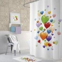 Zethome Tropik Heart Balloons Bathroom Shower Curtain Single Wing 1x180x2 344639134