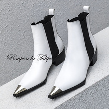 BHS 9011178 Stylish Pointed Toe Genuine Cow Leather Elastic Band Patchwork 5CM Chunky Heel Mid Calf Women Fashion Chelsea Boots prova perfetto euramerican pointed toe chunky heel chelsea boots women black white genuine leather cross tied knight boot female