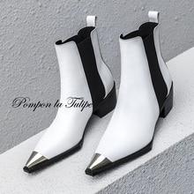 купить BHS 9011178 Stylish Pointed Toe Genuine Cow Leather Elastic Band Patchwork 5CM Chunky Heel Mid Calf Women Fashion Chelsea Boots дешево