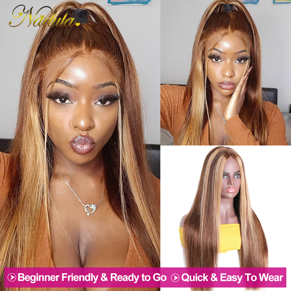 """2x5""""PU Silk Base Closure Wigs Highlight Mix Color Piano Blonde Wig 150% Density Straight  Wigs  Virgin Hair 2"""
