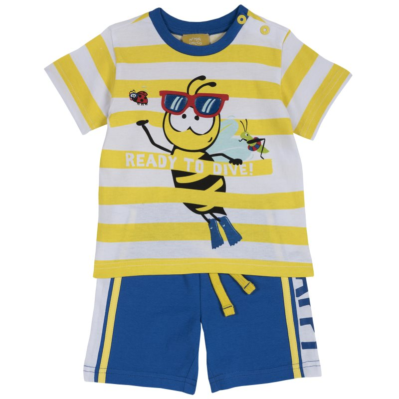 Set T shirt and shorts Chicco, size 086, print Bee (yellow stripe)