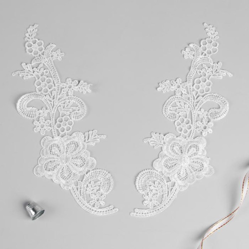 3557523 Appliques Sewing Lais Polyester 24,5*9 Cm White