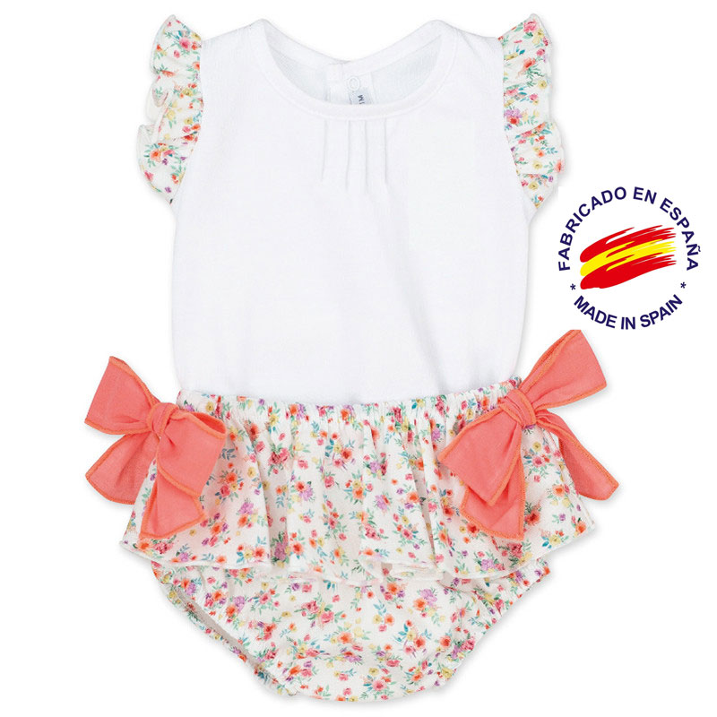Calamaro, Set Baby Girl, Blusita With Brief Frills, Flower And Bows, Coral Color, Sizes: 1-24 M, Collection Summer 2020