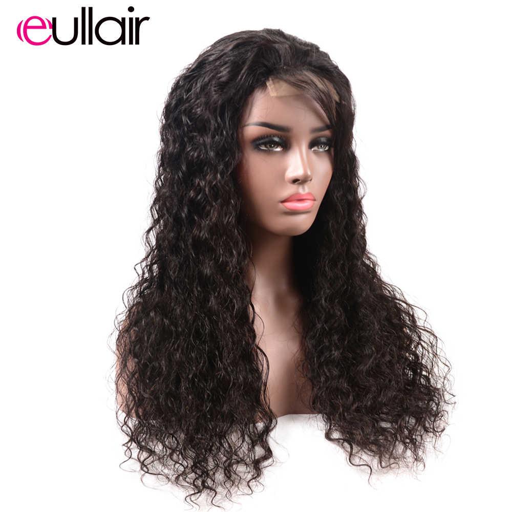 Eullair su dalga 4*4 dantel kapatma peruk saç ön koparıp 100% Remy İnsan saç dantel peruk siyah kadınlar için kadın 150% /180% yoğunluk 8-24