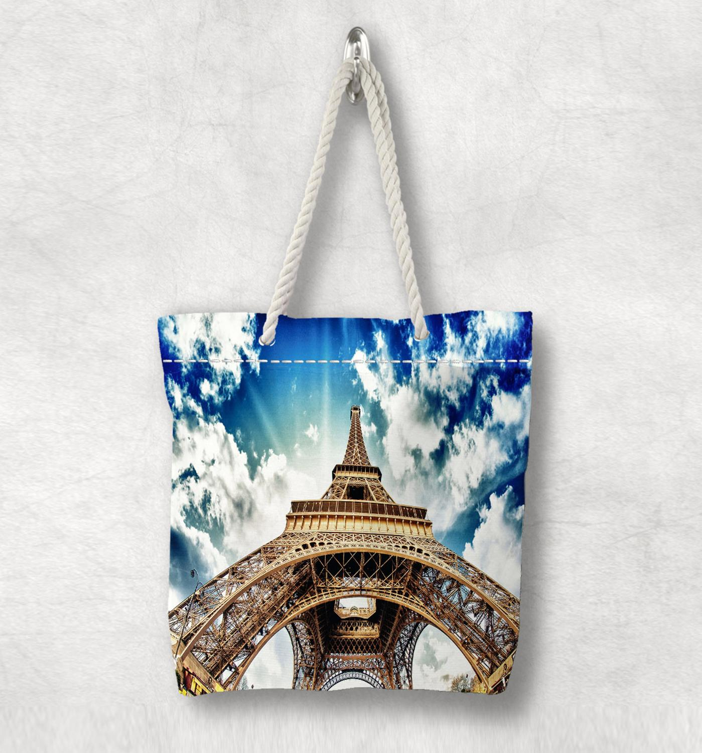 Else Blue Sky White Clouds Paris Eiffel Tower Fashion White Rope Handle Canvas Bag Cotton Canvas Zippered Tote Bag Shoulder Bag