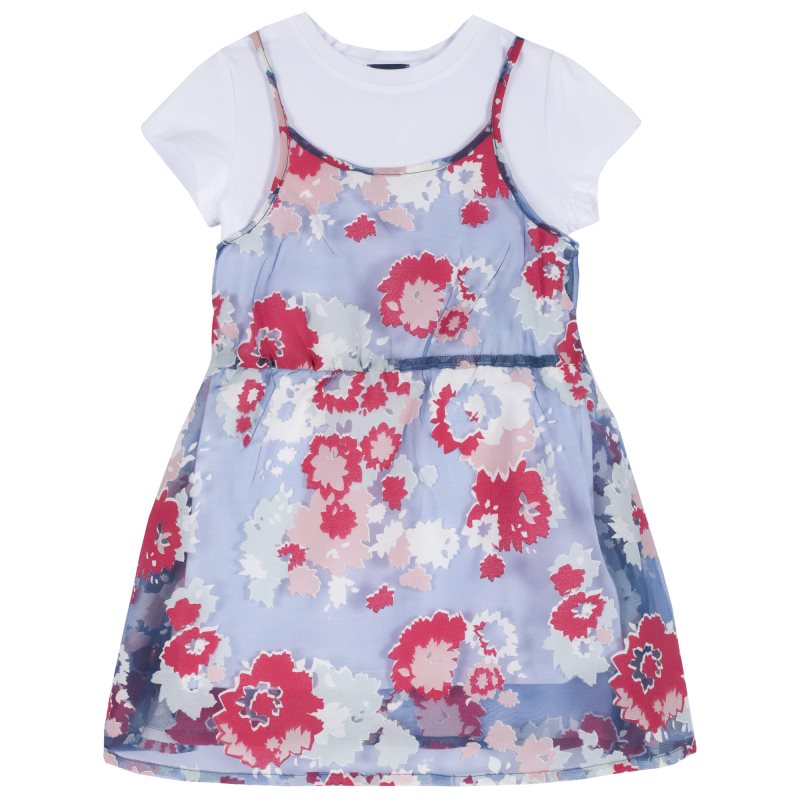 Dress Chicco, size 098, print flowers (blue and red) kids three dimensional flowers mesh princess dress