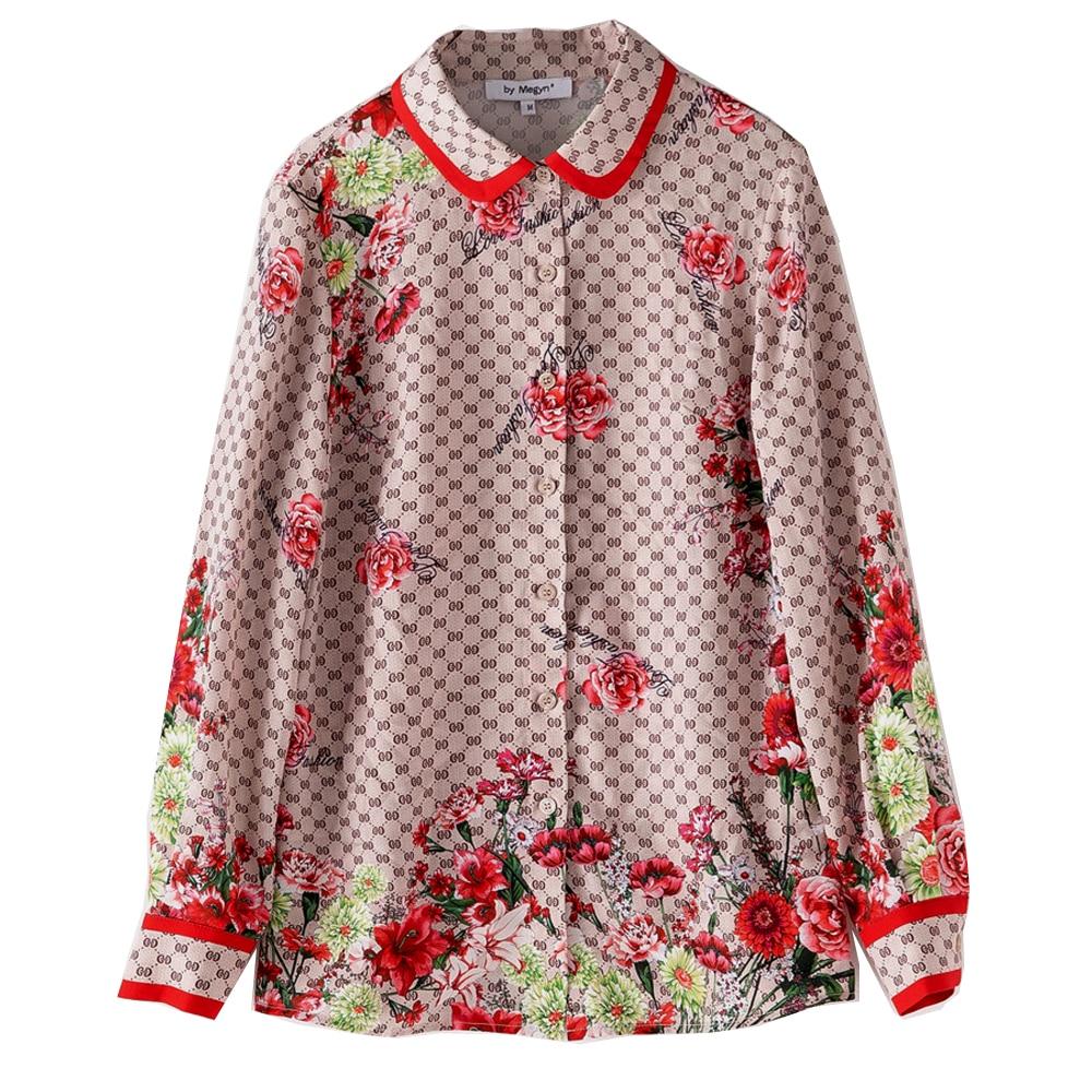 Par Megyn femmes blouses 2019 piste haut pour femme à manches longues élégant floral imprimé chemises blouses grande taille 3XL blouse femininas