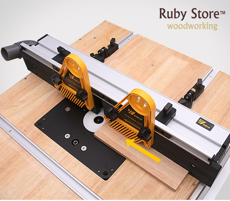 Купить с кэшбэком Heavy Duty Router Fence + 3PCS T-tracks  + Bracket to fix Featherboards, Updated with Dust Port Connection