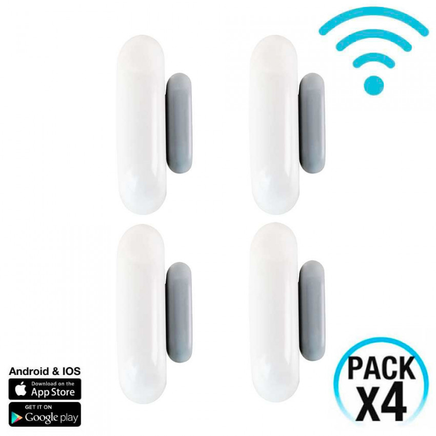 Pack 4 Door And Window Sensors WiFi With Notice Via Smartphone/APP