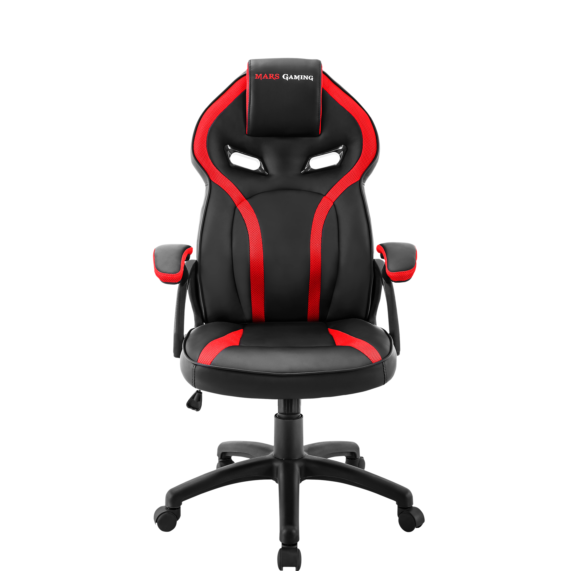 Mars Gaming MGC118, Chair Gaming Ergonomic, Dimmable, PU Coating, Red