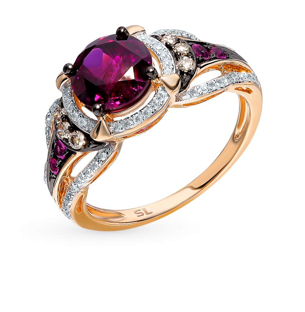 Gold Ring With Cognac Diamonds, Rubies And Rhodolite Sunlight Sample 585