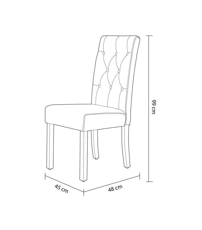 Pack Of 2 Chairs Capitone For Salon Or Kitchen Upholstered In Textile Beige Terra.