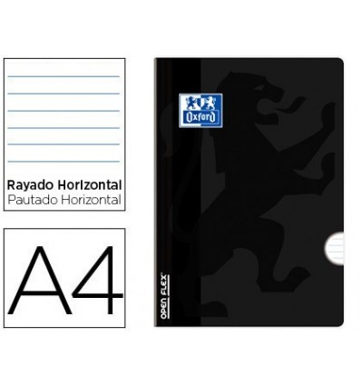 SCHOOL NOTEBOOK OXFORD OPENFLEX BENDABLE COVER OPTIK PAPER 48 SHEETS DIN A4 HORIZONTAL STRIPED COLOR BLACK