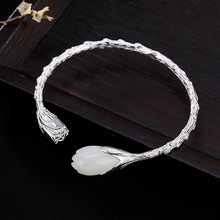 2019Chinese style S925 pure silver inlay and field magnolia flowers personality simple lady opening upscale bracelet bracelet