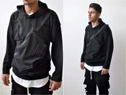 2020 Front Tasche Dark Mit Kapuze Pullover Hong Kong Street Fashion männer Punk Beiläufige Lange T Slim Fit-Taktische hoodie Sweatshirt