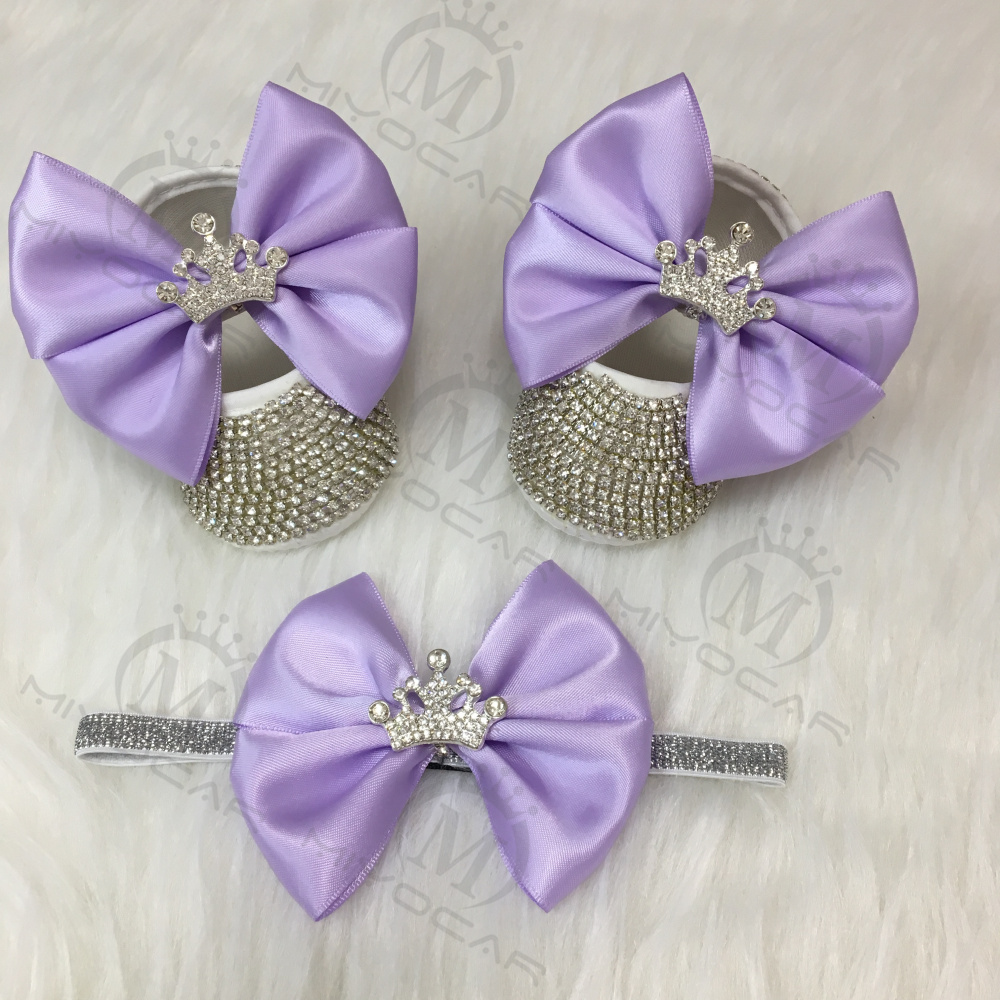 MIYOCAR Bling Rhinestones Baby Girl Shoes First Walker Headband Set Sparkle Bling Crystals Princess Shoes Baby Shower Gift SH1