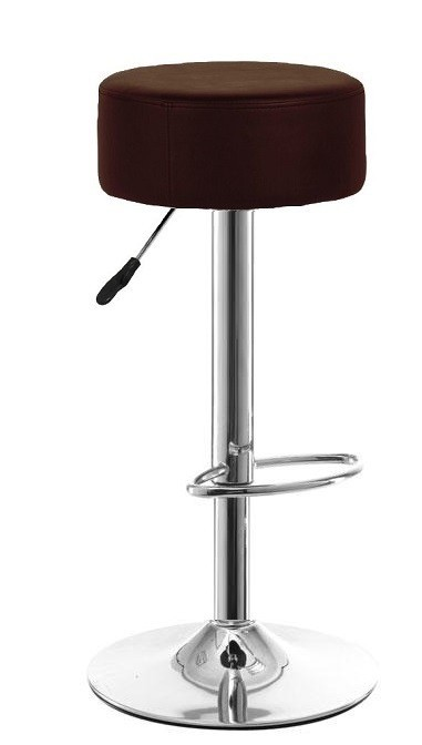 Stool BOWLING ALLEY, Plating, Similpiel Black