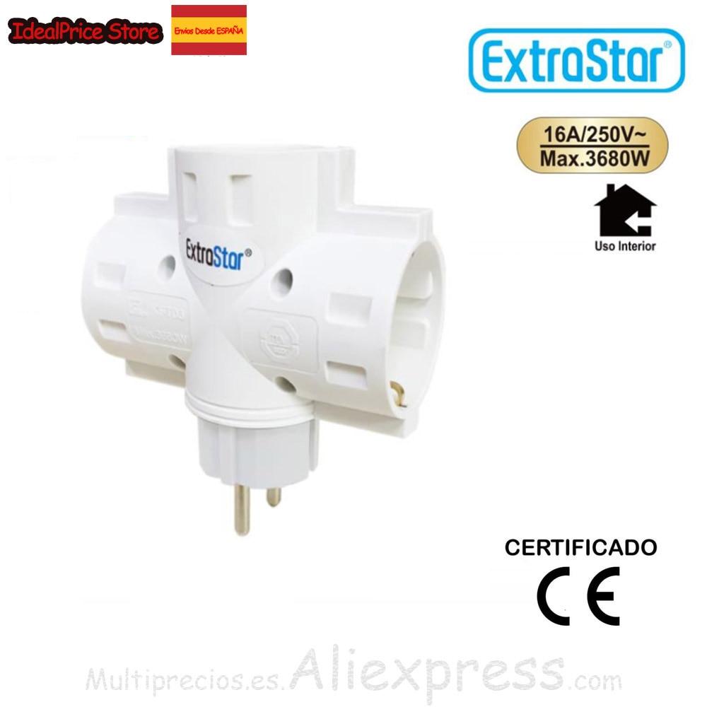 Extrastar®Ladron Schuko 3 Sockets White