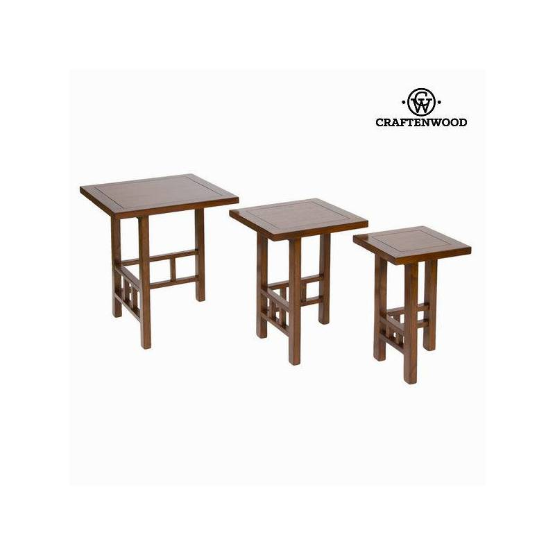 Set Of 3 Tables Wood Mindi Brown-Collection Serious Line By Craftenwood