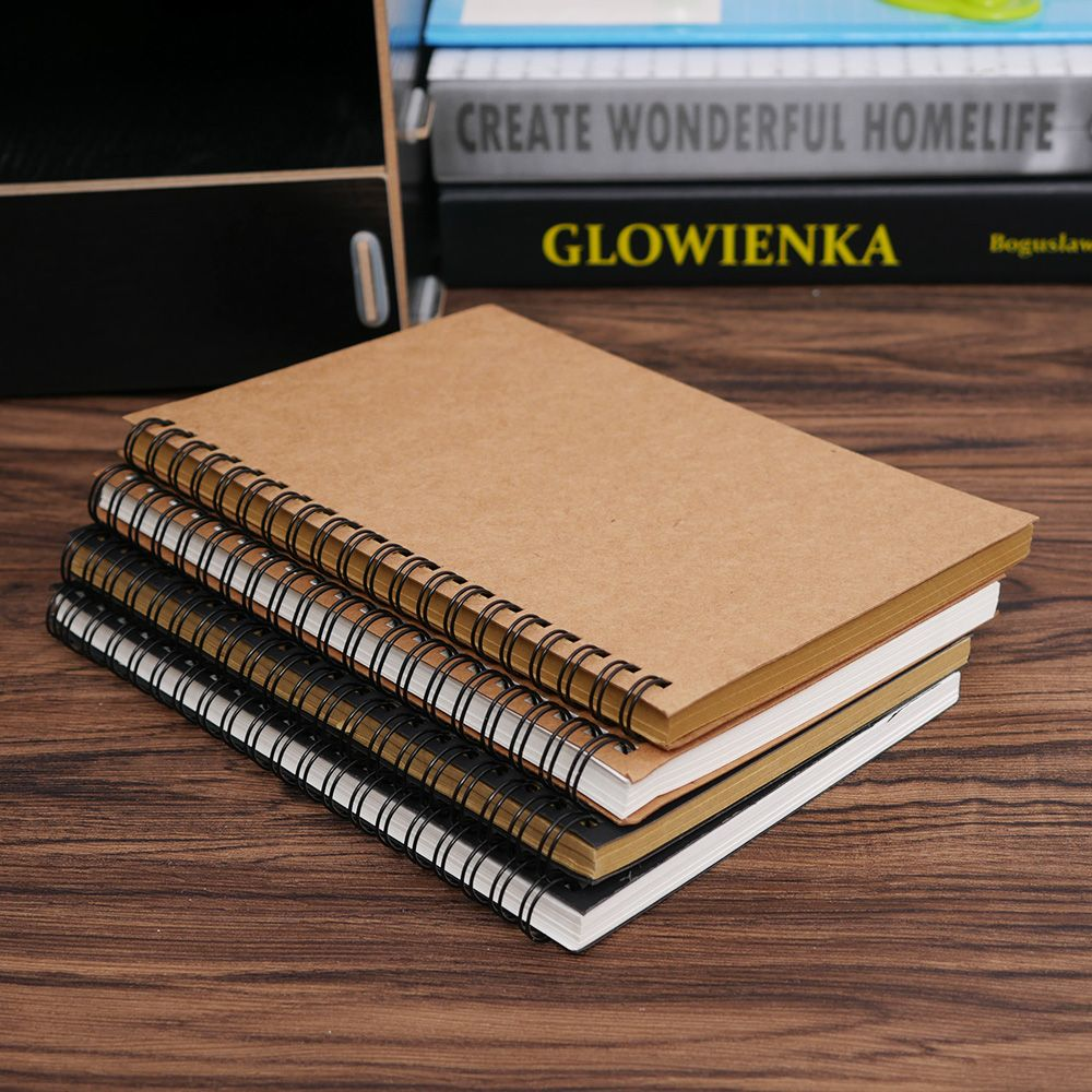 1Pcs High Quality Reeves Hard Back Spiral Bound Coil Sketch Book Blank Paper Kraft Sketching Paper School Office Supplies