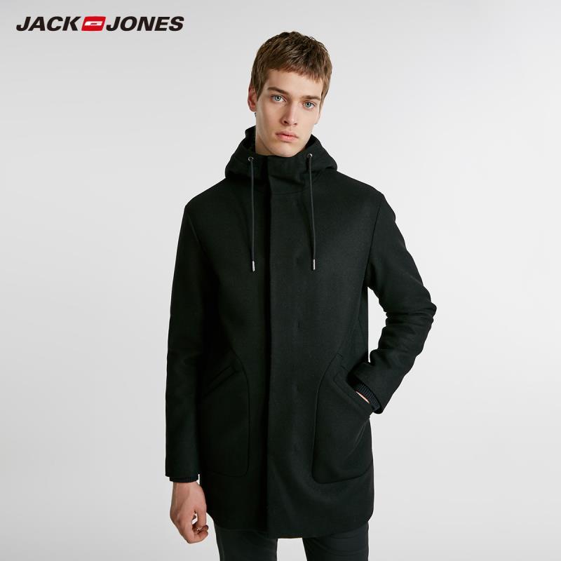 JackJones Winter Men's Hooded Parka Coat Woolen Overcoat Casual Long Padded Jacket Coat Basic Menswear 218427506