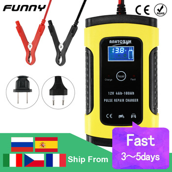 12V Car Battery Charger 6A Full Automatic Intelligent Fast Power Pulse Repair Chargers Digital LCD Display Wet Dry Lead Acid